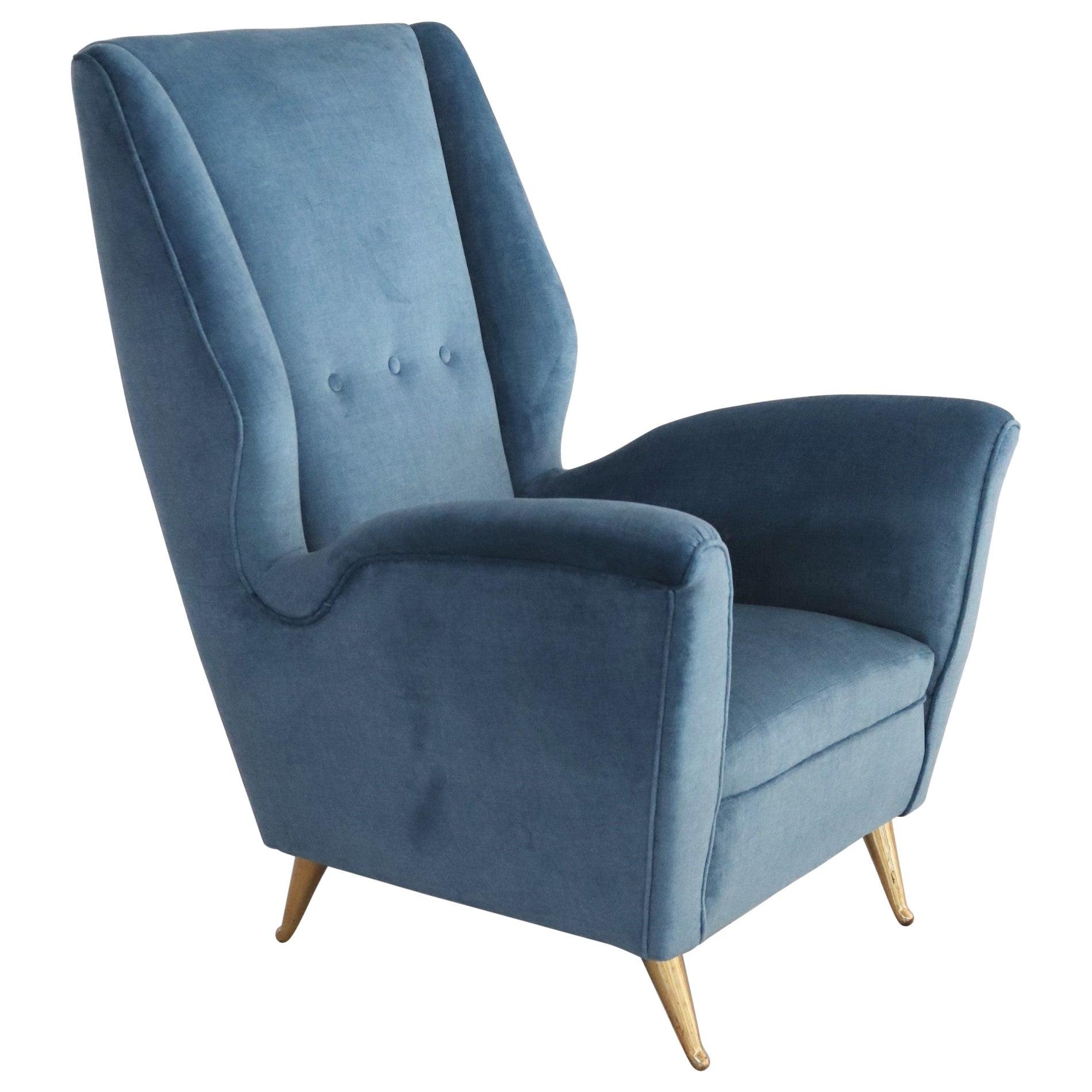 Italian Midcentury Armchair in Blue Velvet and Brass Feet by ISA Bergamo, 1950s