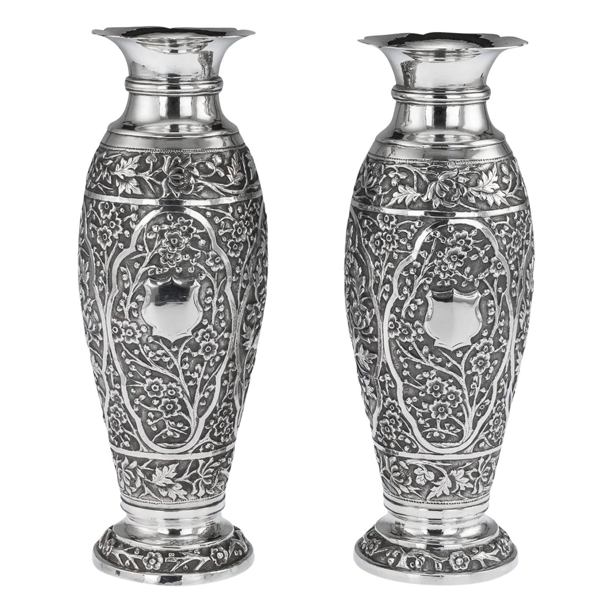 19th Century Chinese Export Solid Silver Pair of Vases, circa 1890