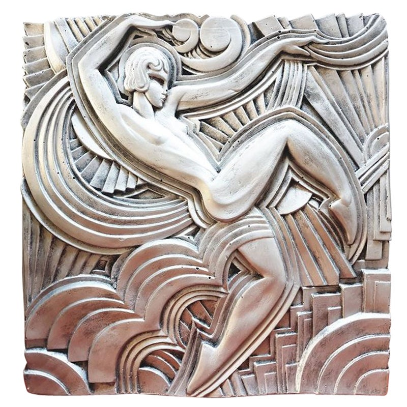 Silver Plated Plaster Bas-Relief Remake of Maurice Picaud One