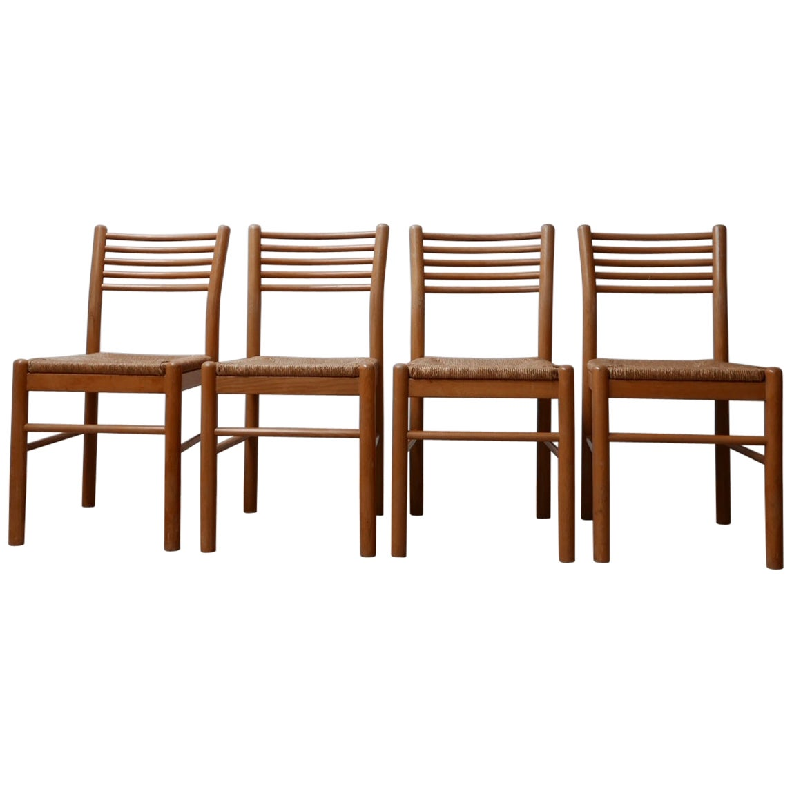 Set of Four Midcentury Rush Dining Chairs