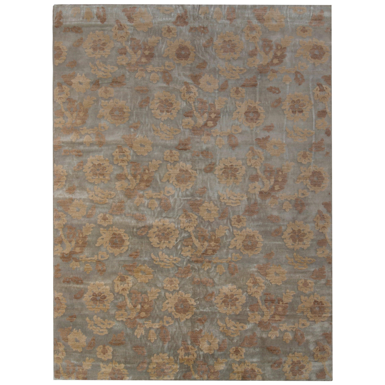 Rug & Kilim's Handmade Contemporary Rug in Beige Brown Floral Pattern