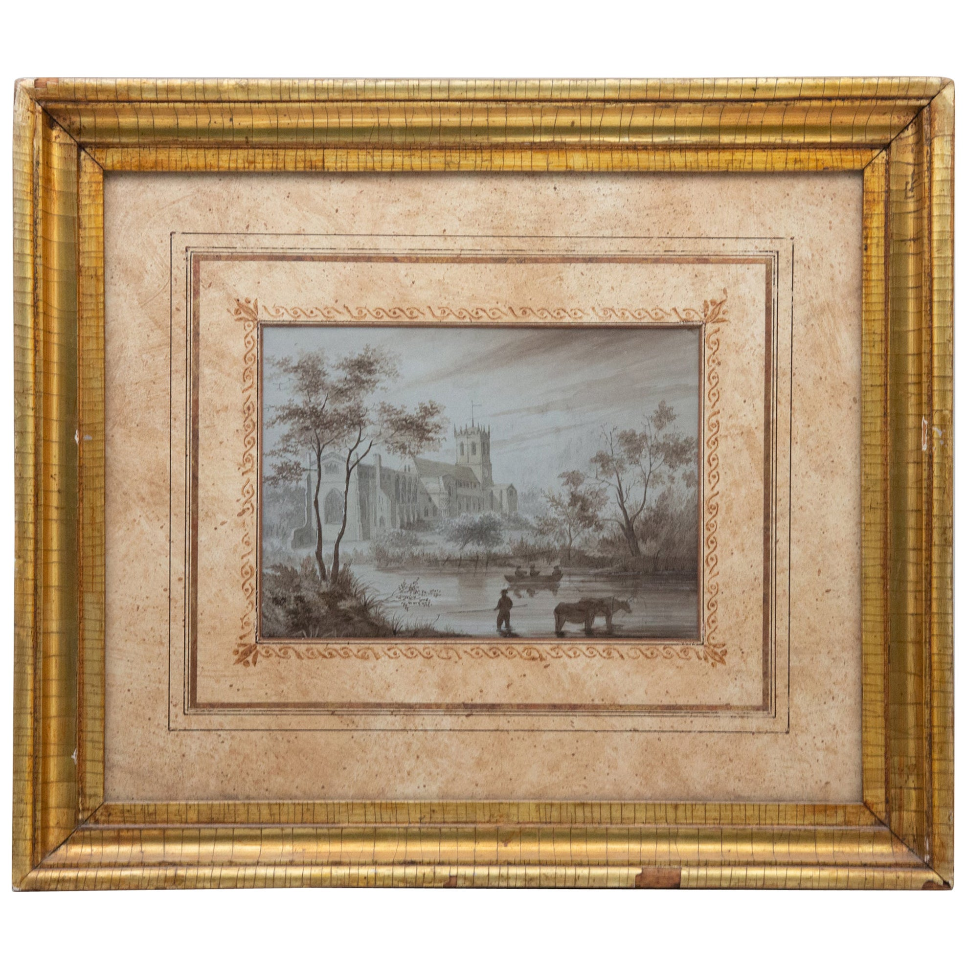 19th Century Watercolor in a Gilt Frame