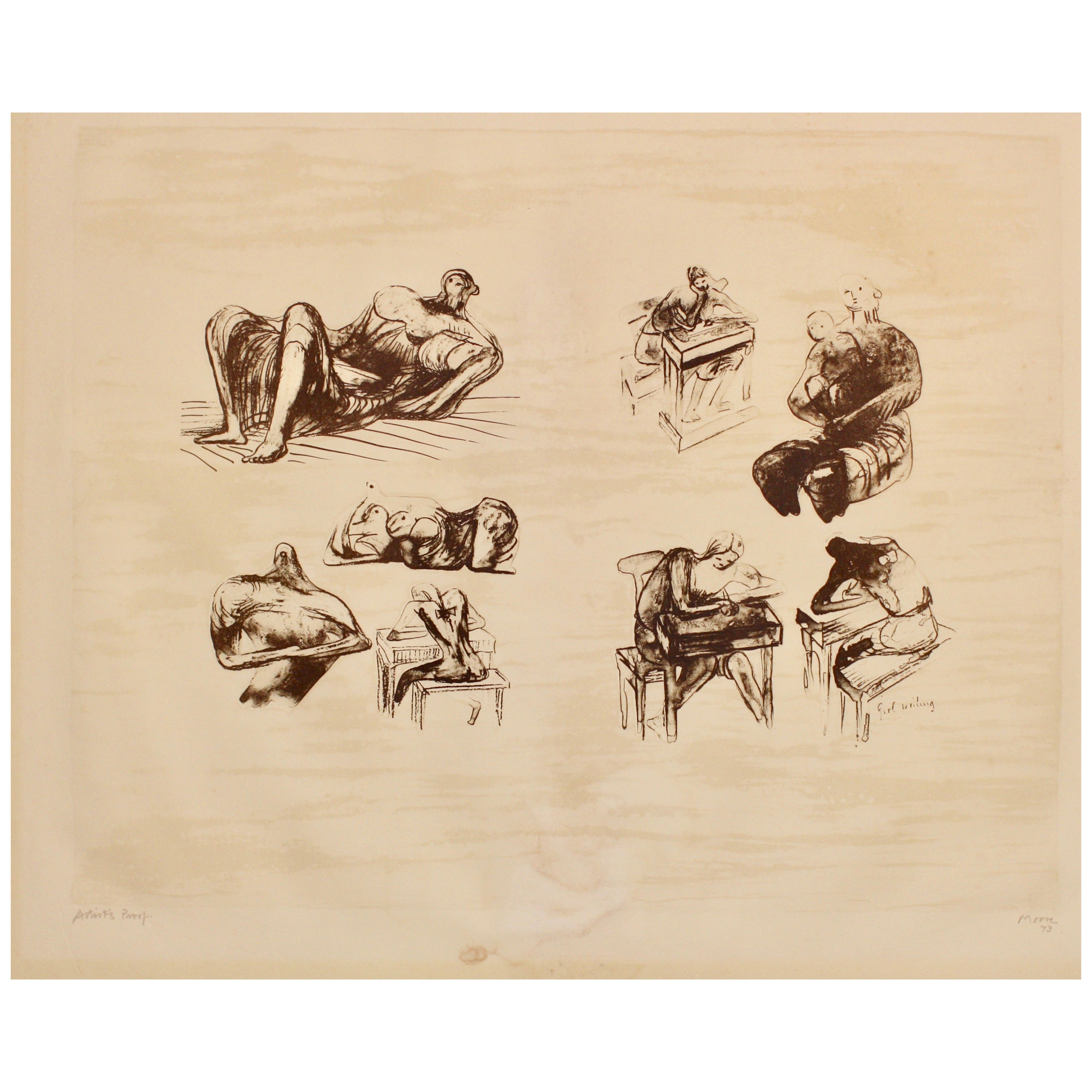 """Henry Moore, English, 1898-1986, """"Eight Sculptural Ideas, Girl Writing"""""""