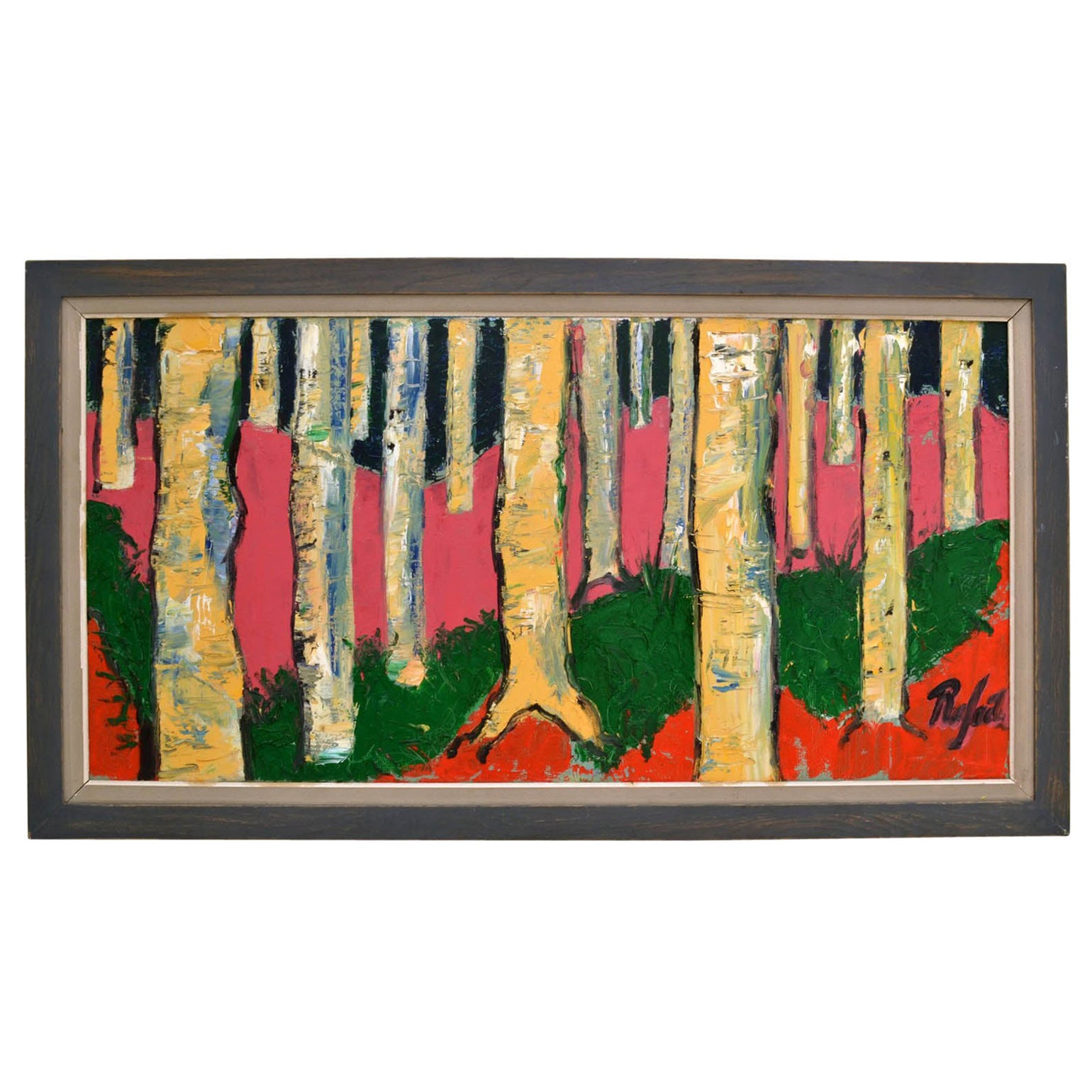 Expressionist Colorful Birch Tree Landscape Painting by Rafael, 1980s