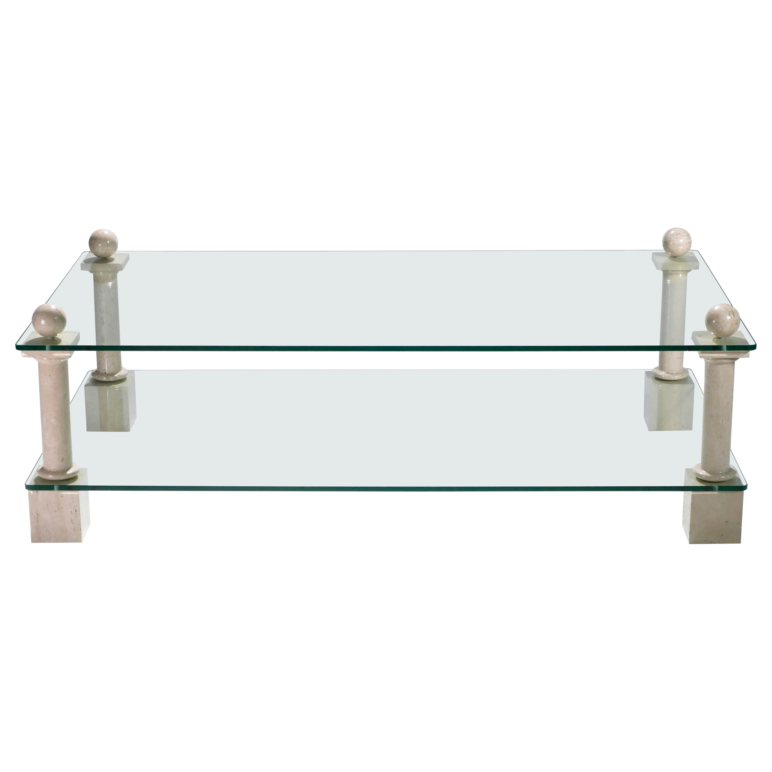French Travertine Philippe Barbier Glass Coffee Table, 1970s