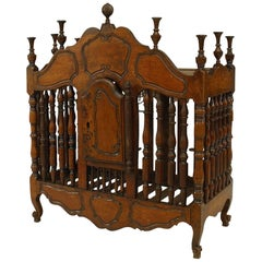 18th Century French Provincial Walnut Spindle Design Bread Box