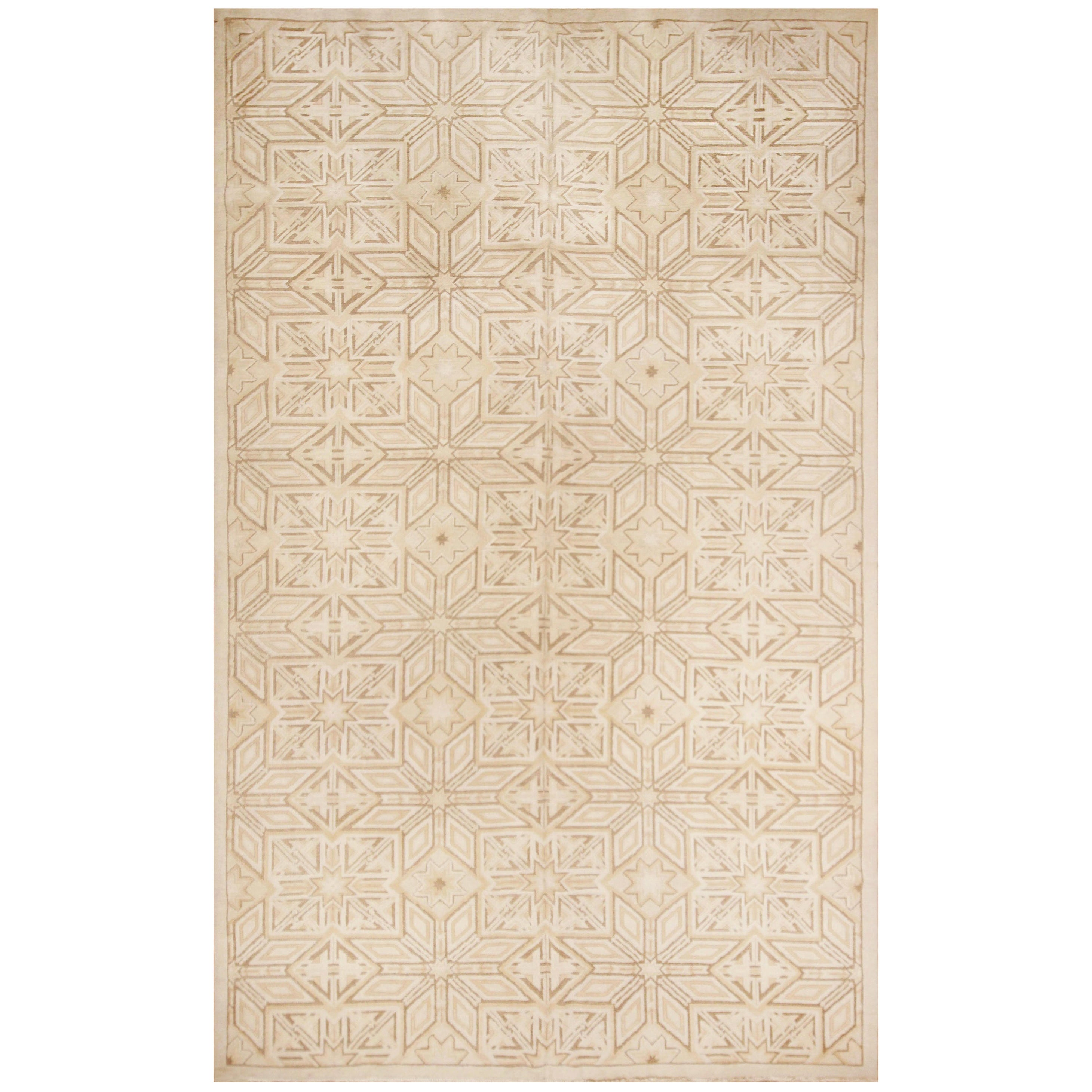 Contemporary Flat-Weave and Pile Wool Rug in Beige Geometric Pattern
