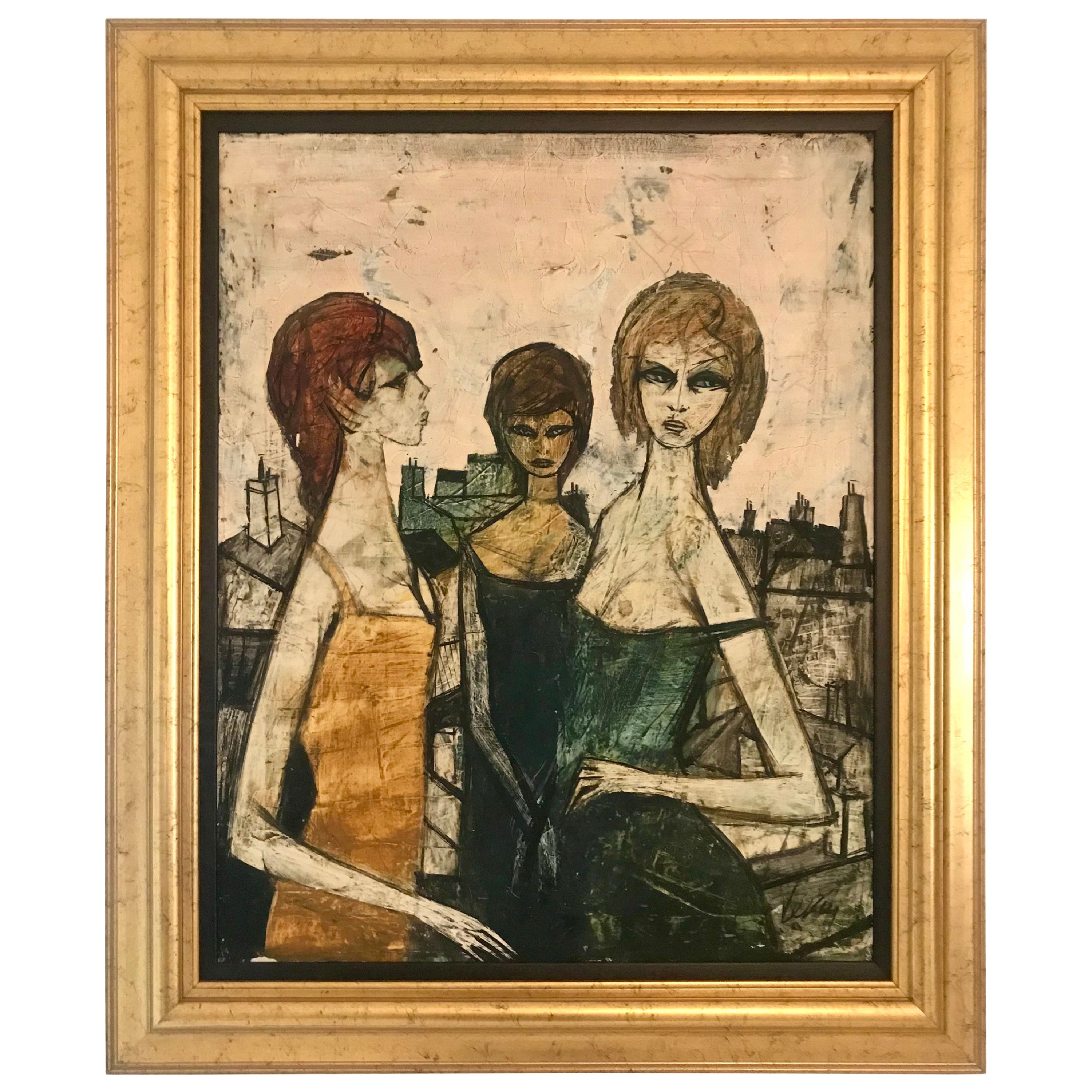 Original Oil on Canvas Painting by Charles Levier of Les Filles, circa 1950s