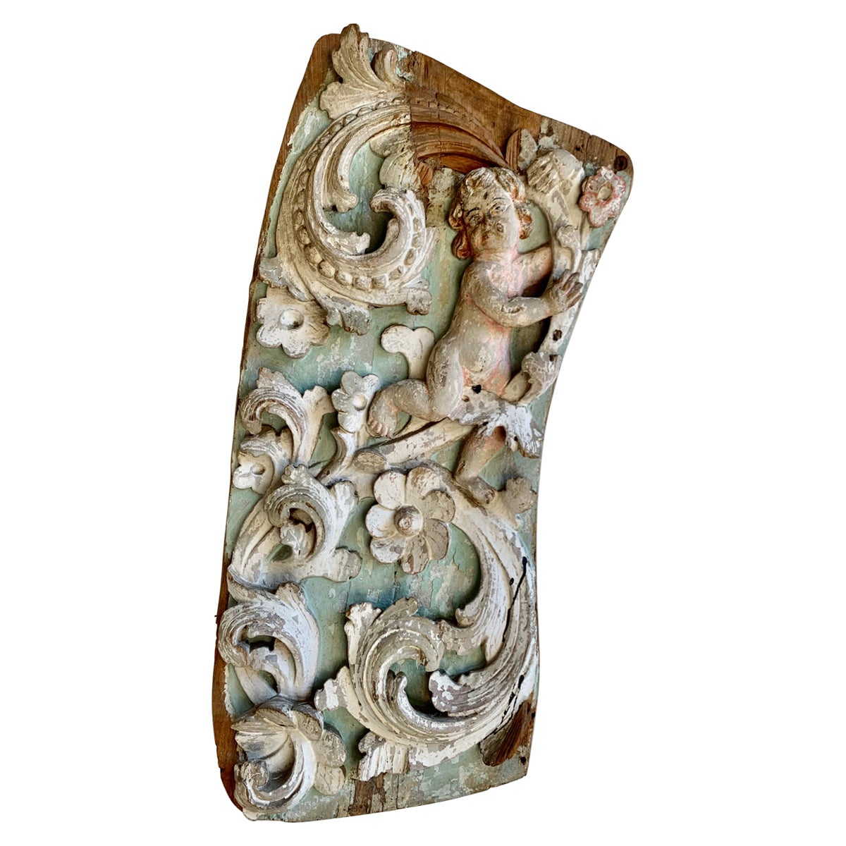 19th Century Painted Italian Carved Panel with Cherubs
