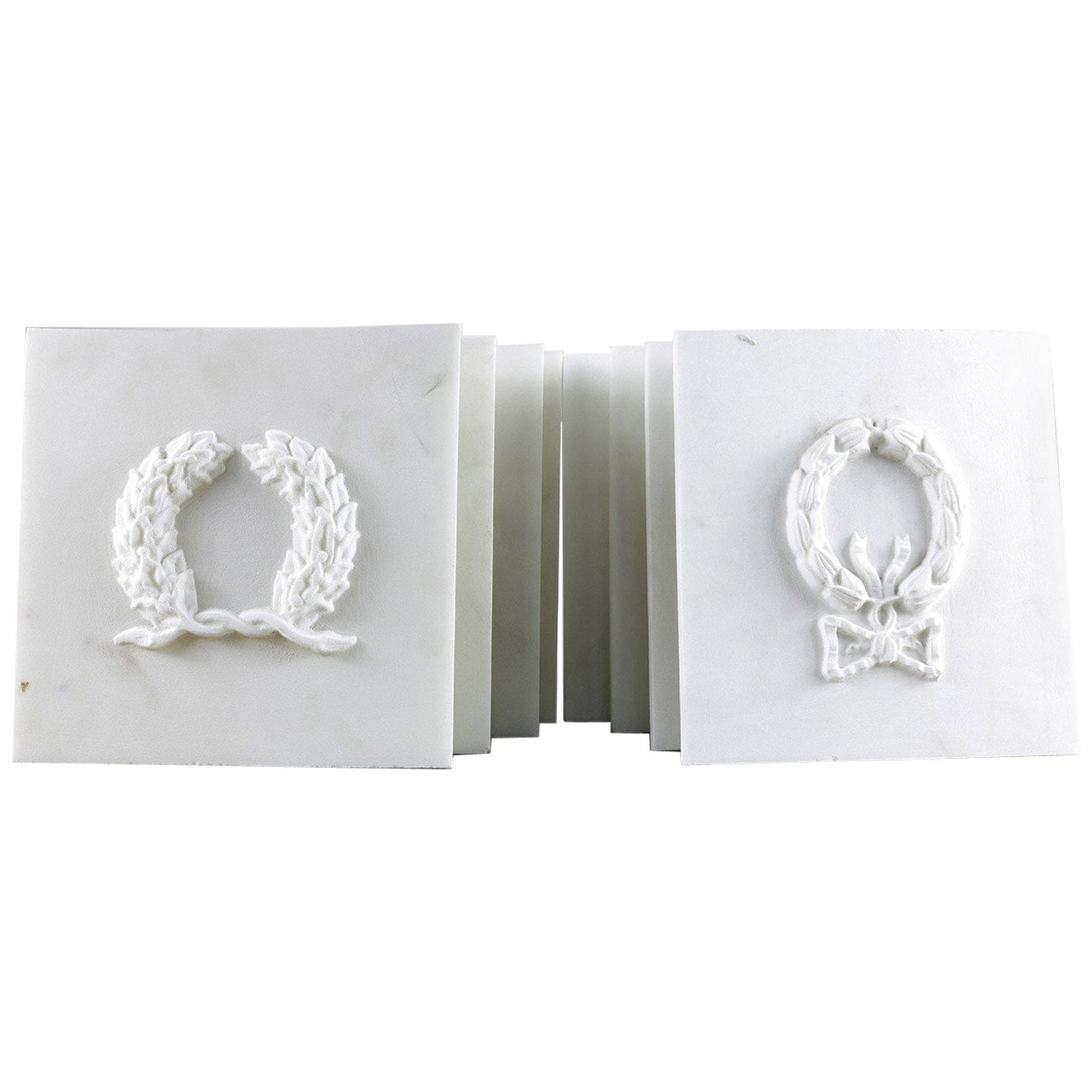 Reclaimed Marble Carved Wreath Plaques, 20th Century