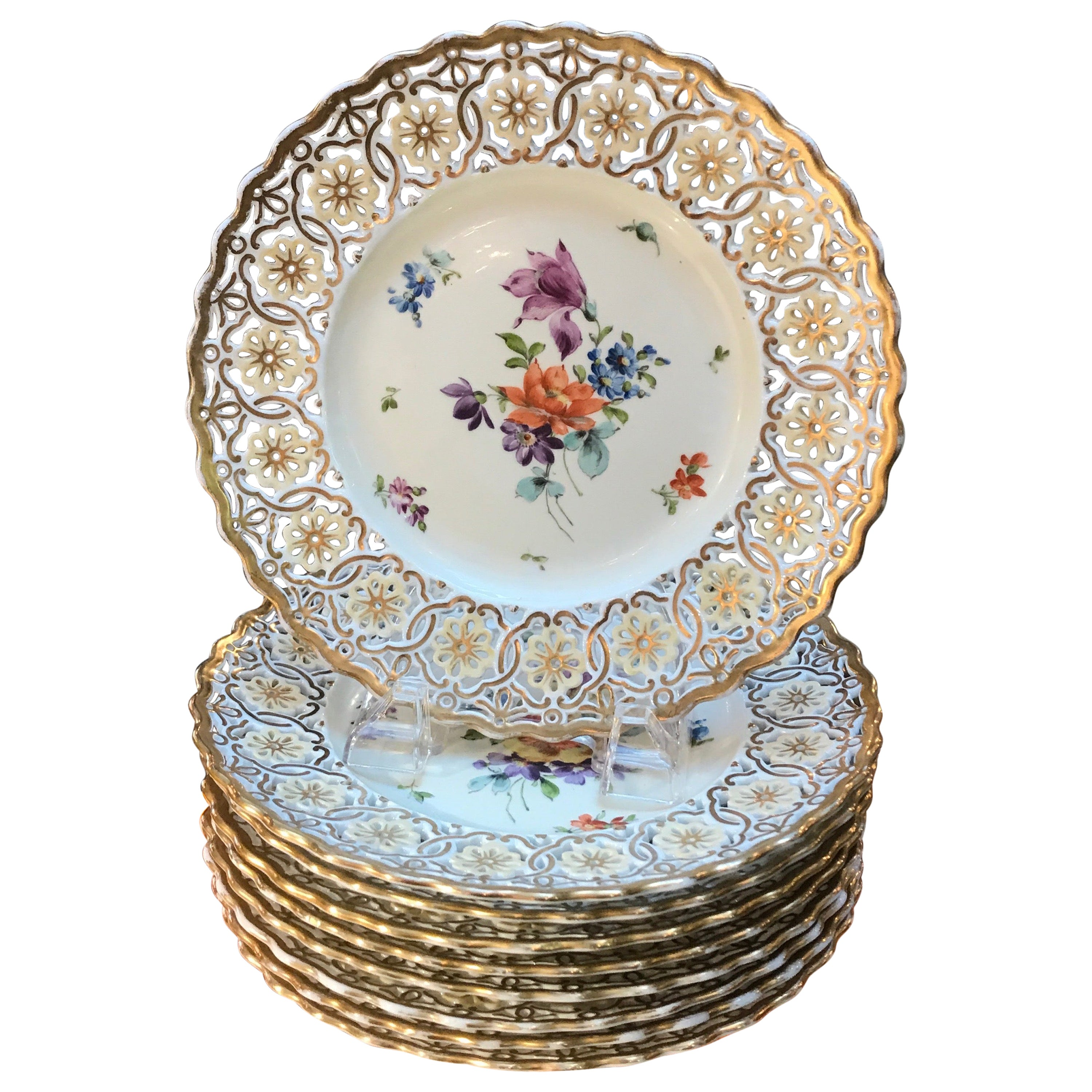 Set of 9 Hand Painted and Reticulated Accent Plates