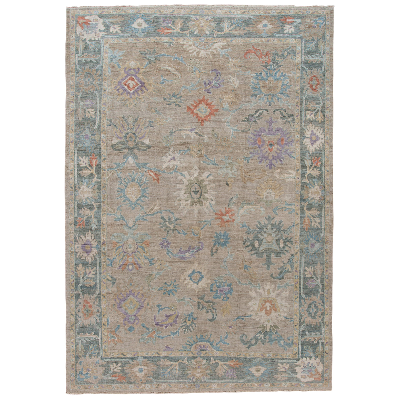 Modern Floral Sultanabad Handmade Wool Rug