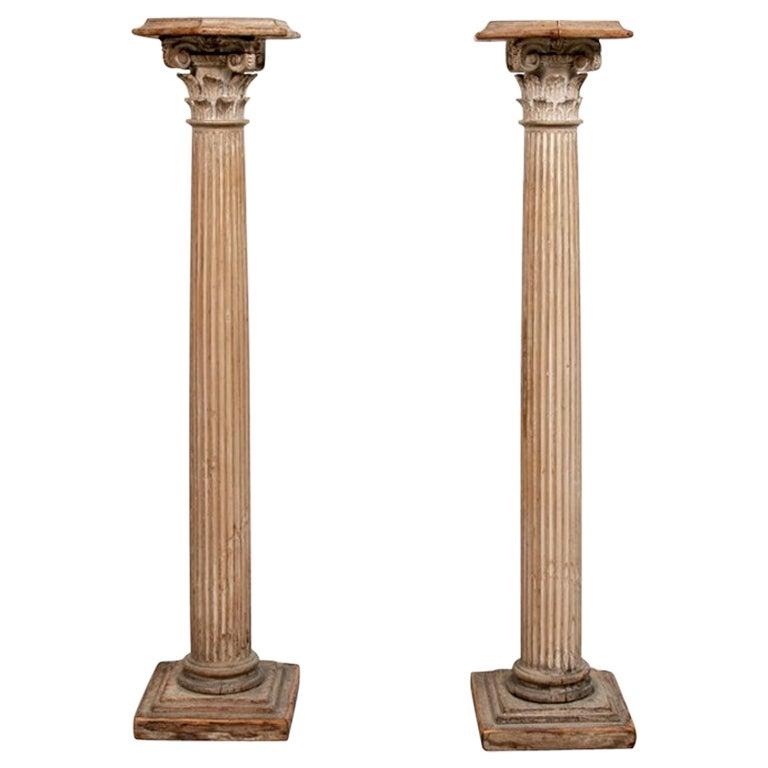 Pair of Antique Carved Wood Column Form Pedestals
