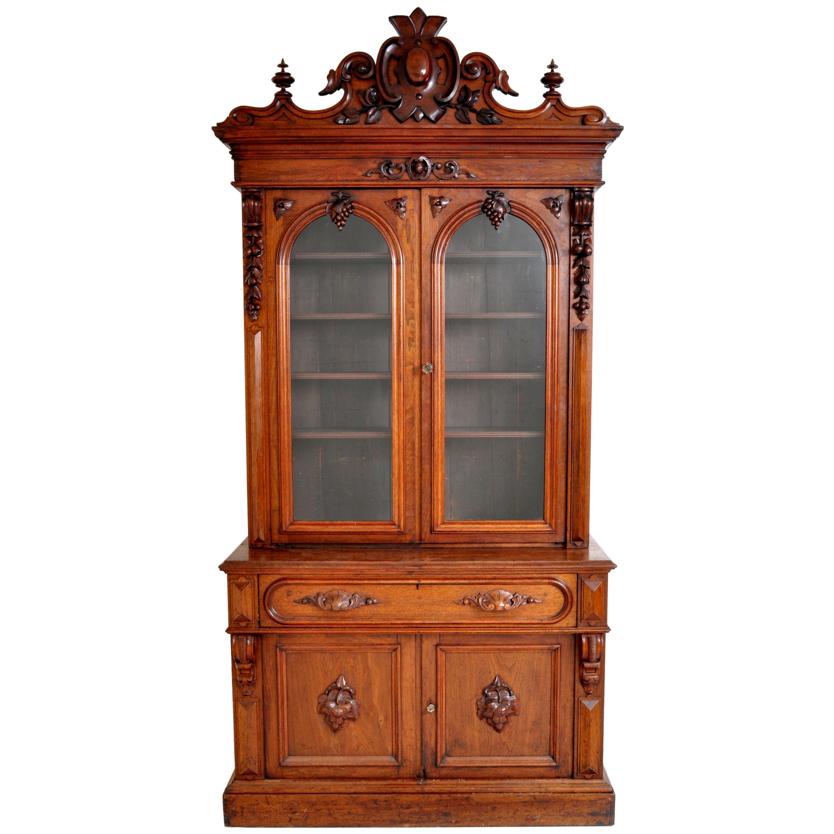 Antique American Renaissance Revival Carved Walnut Secretary Desk Bookcase, 1870