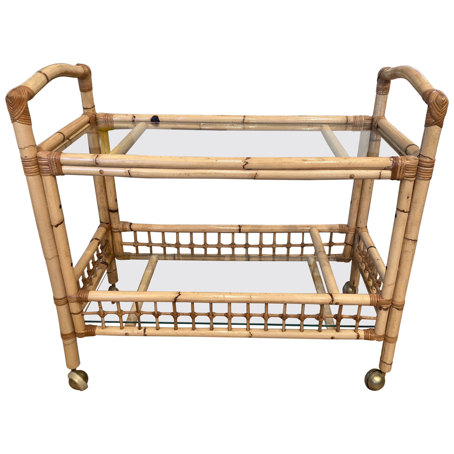 Bamboo and Rattan Bar Cart