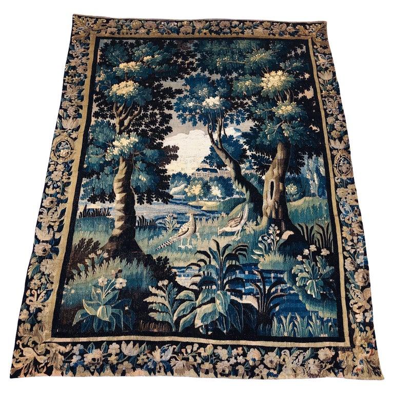 18th Century Aubusson Verdure Landscape Tapestry For Sale