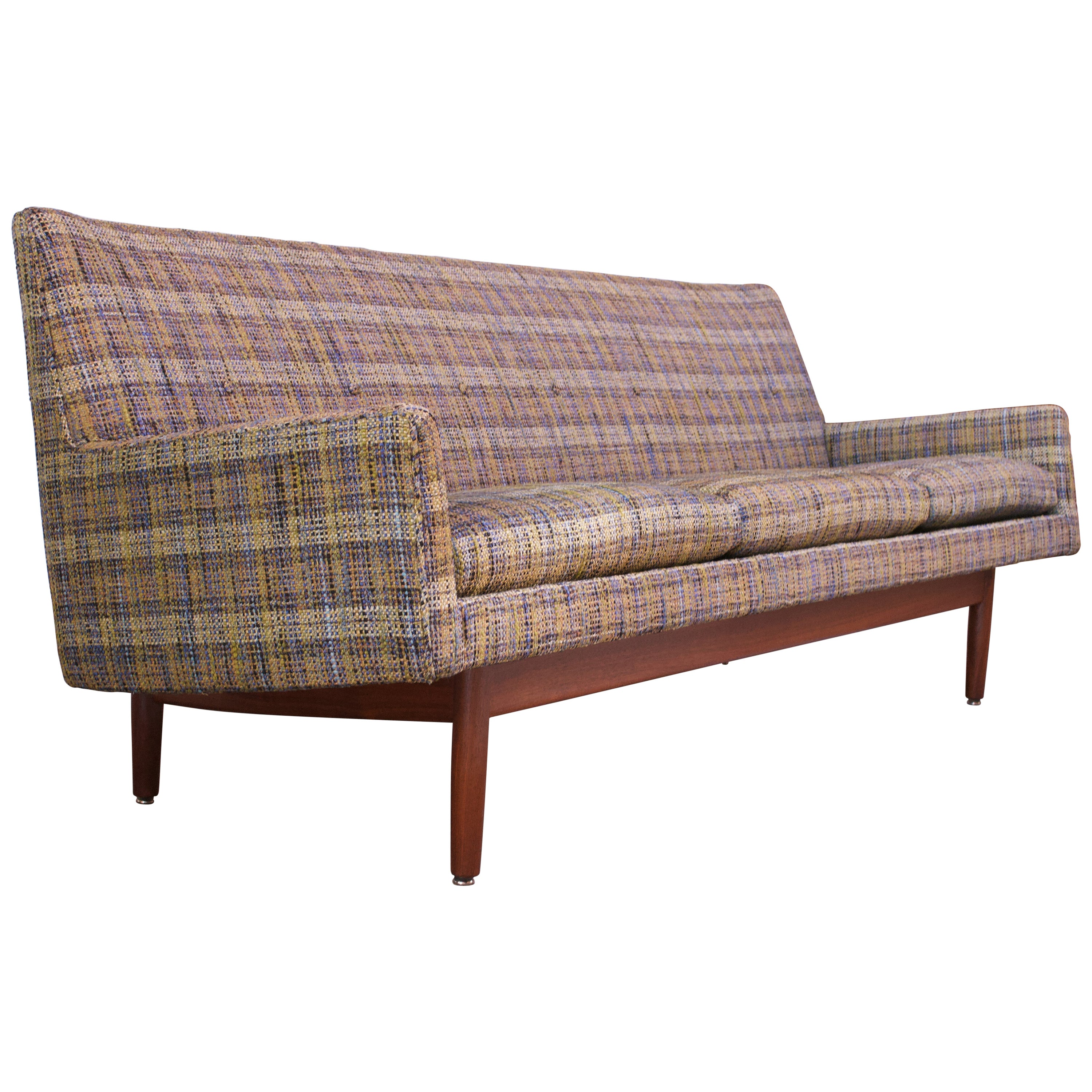 Jens Risom Floating Sofa in Walnut with Original Tweed Upholstery