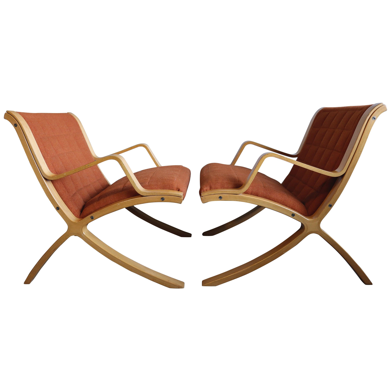 AX Lounge Chairs by Peter Hvidt & Orla Mølgaard Nielsen for Fritz Hansen