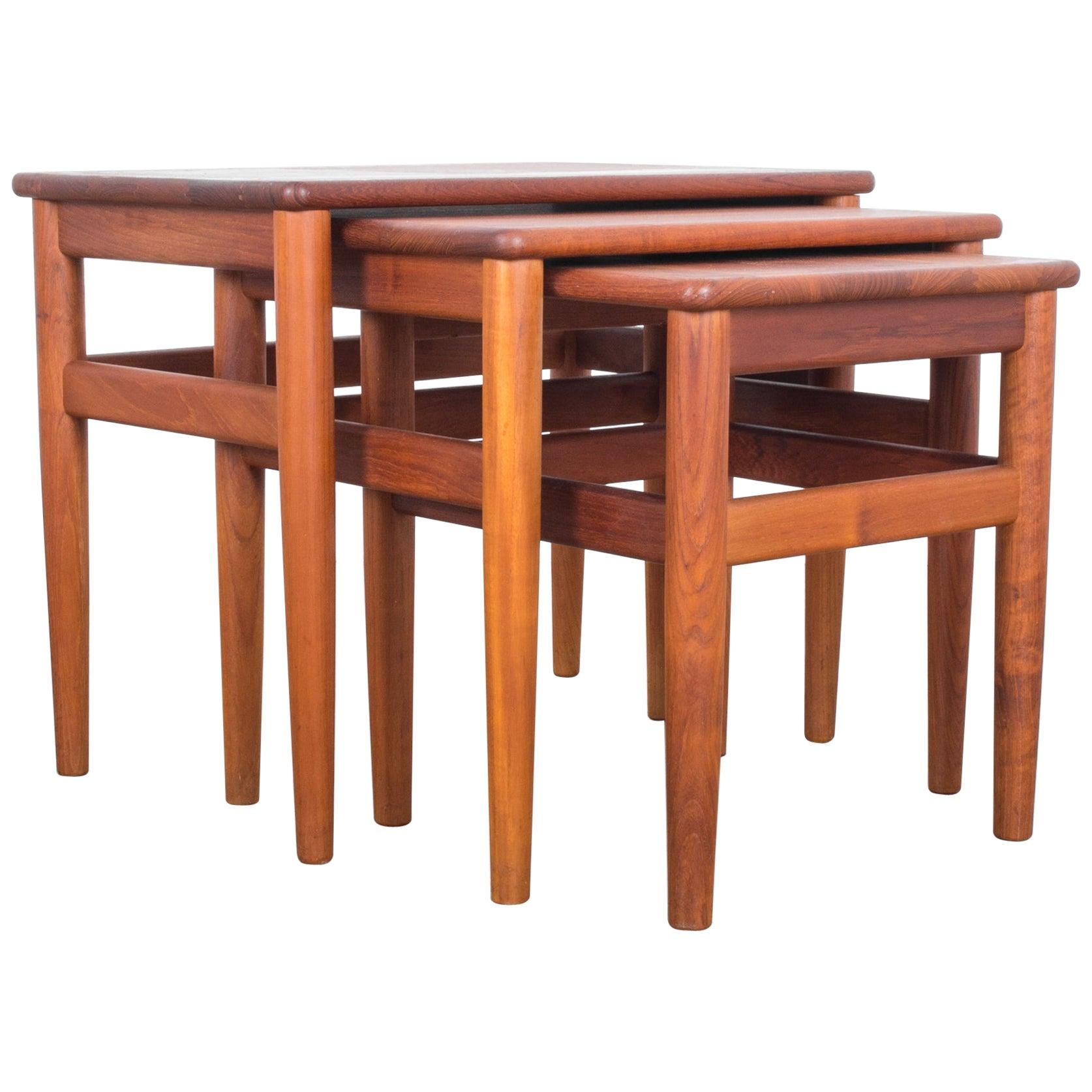 1960s Danish Teak Nesting Tables, Set of Three
