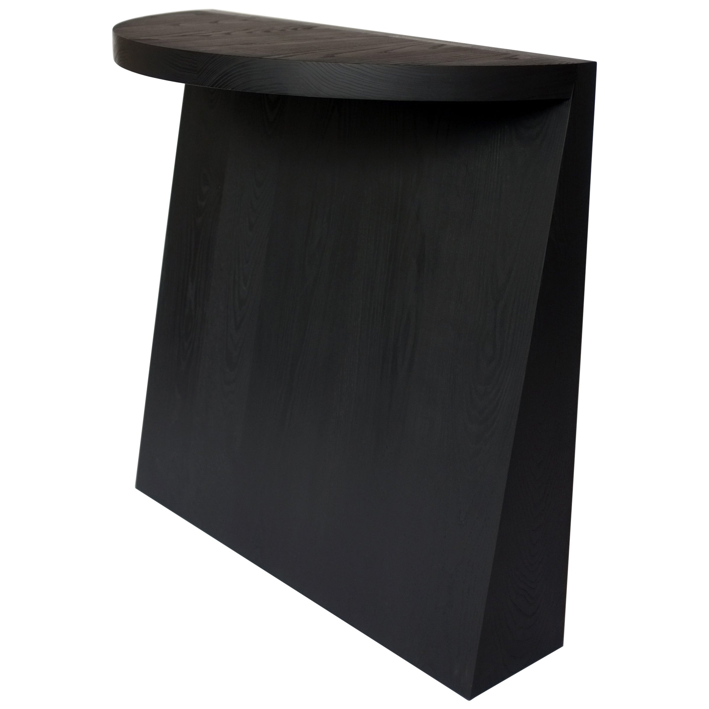Minimal Sculptural Geometric Black Dyed Ash Wood Console Table by Campagna