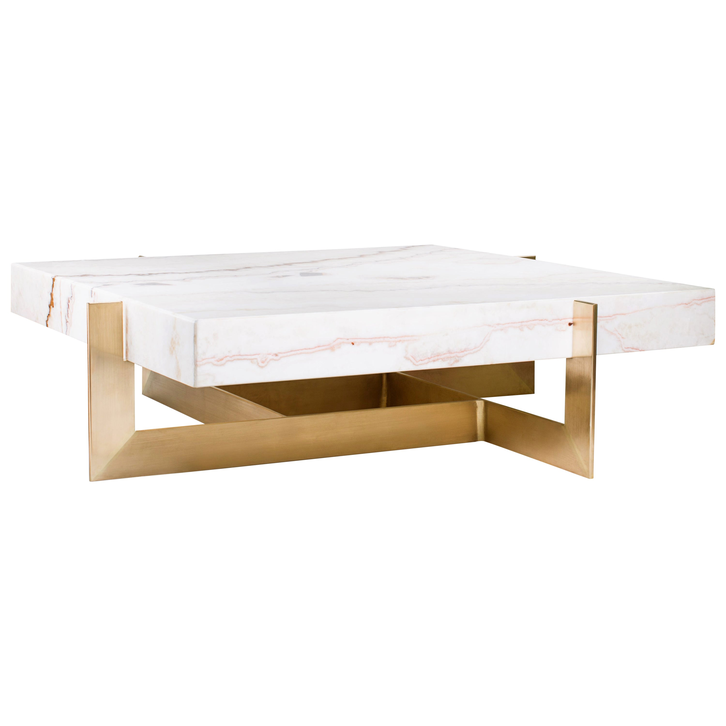 """""""Golden Rock"""" Marble Coffee Table Feat, Brushed Brass Base by Grzegorz Majka"""