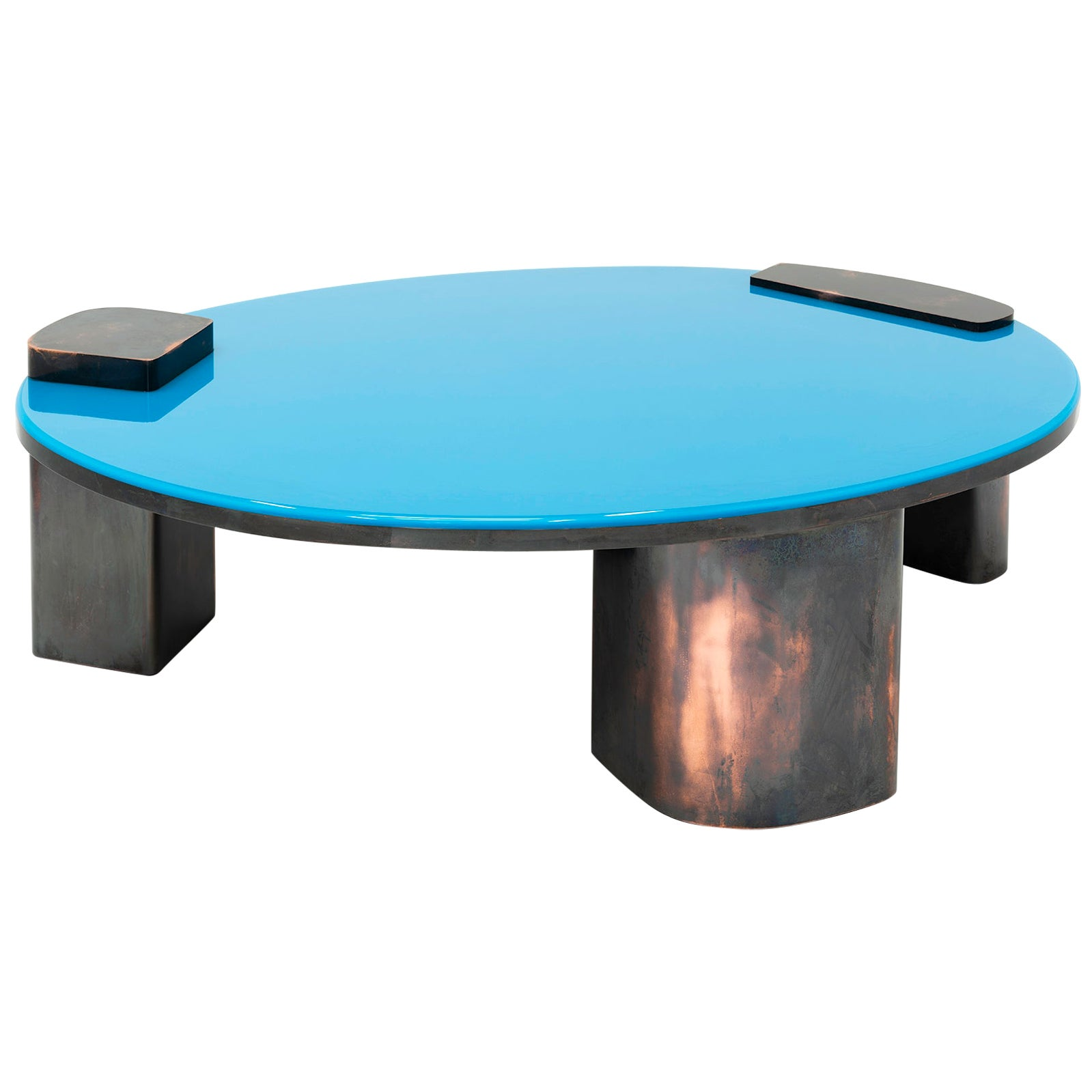 Blue Moon MMXIX, 21st Century Modern Copper and Blue Resin Oval Coffee Table
