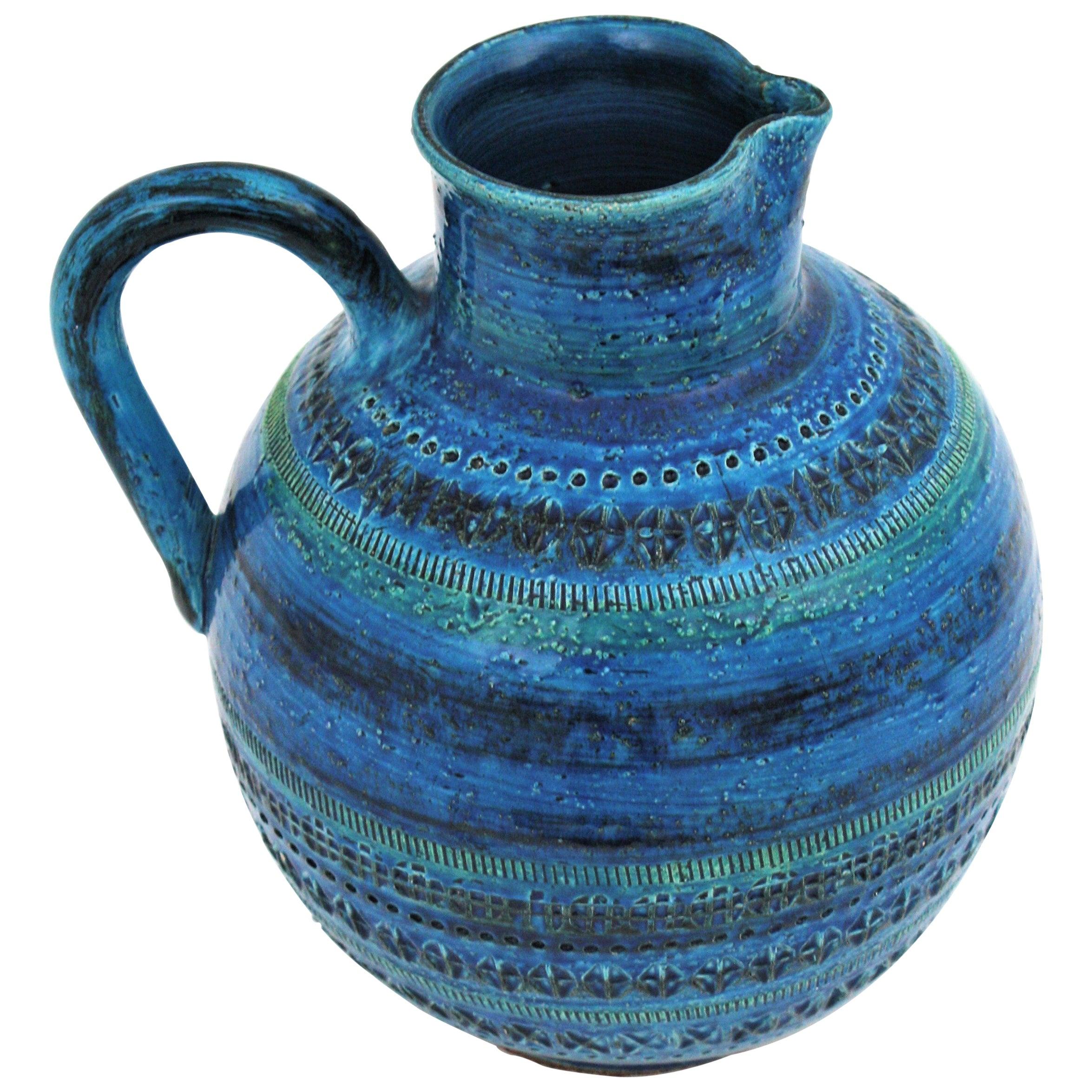 Aldo Londi Bitossi Rimini Blue Glazed Ceramic Oversized Jug Vase
