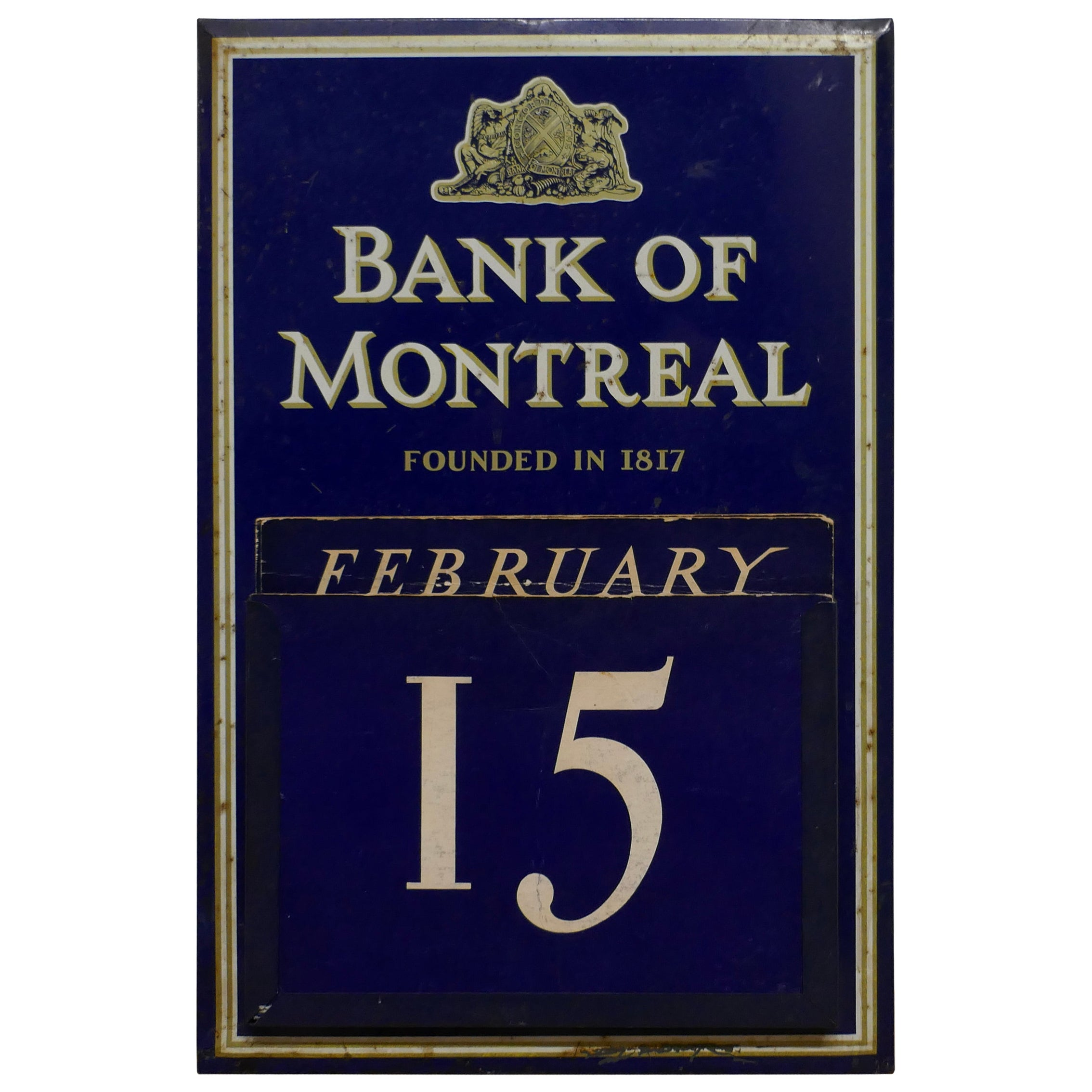 20th Century Tin Plate Perpetual Calendar from Bank of Montreal, 1817