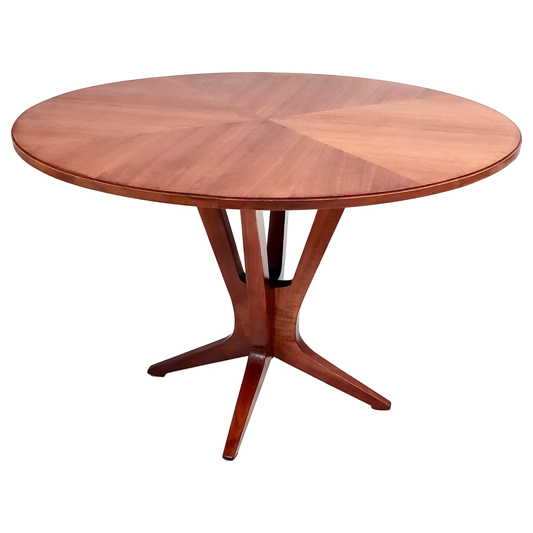 Midcentury Round Wooden Dining Table in the Style of Ico Parisi, Italy