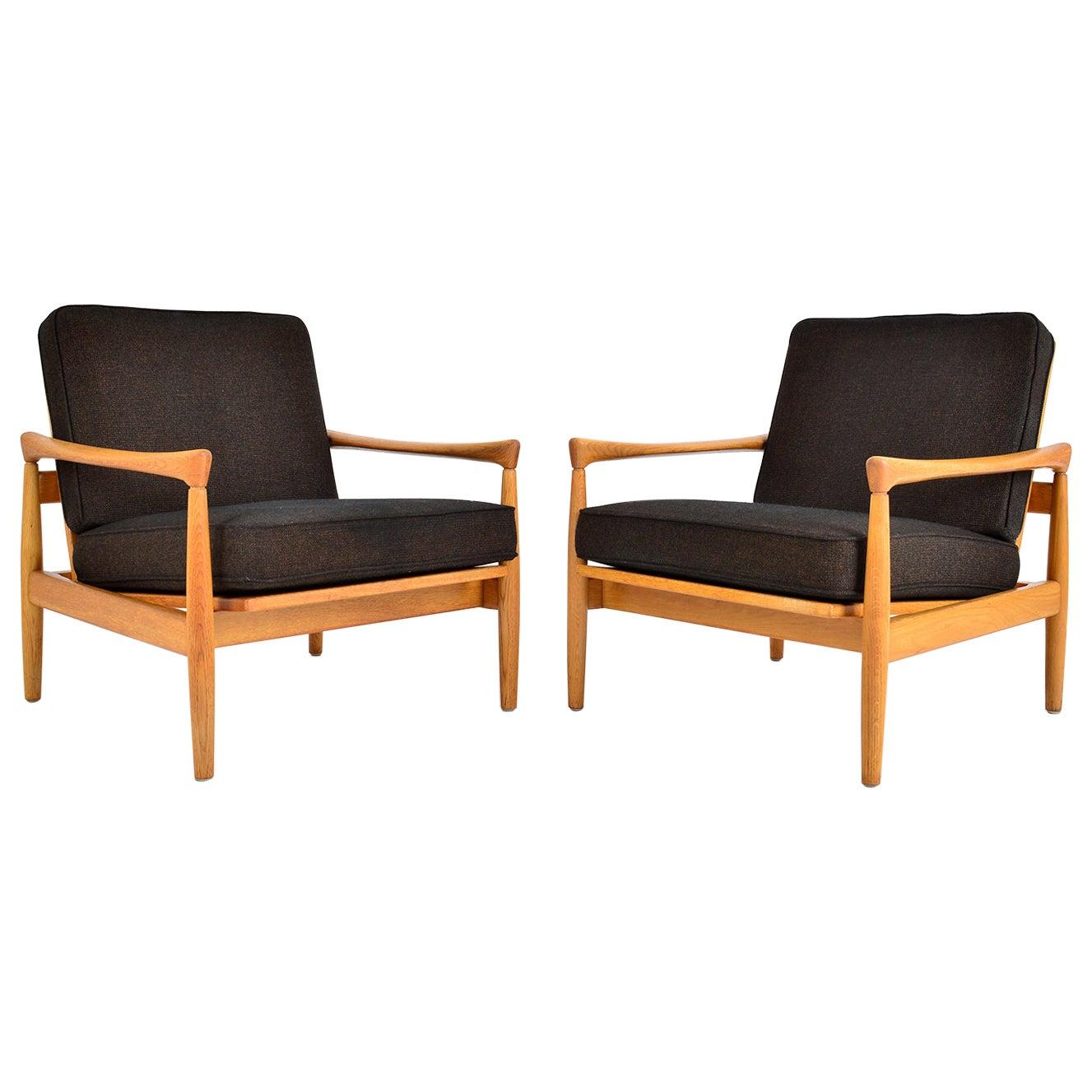 Pair of Midcentury Erik Wørts Oak Lounge Chairs for Broderna Andersson, Sweden