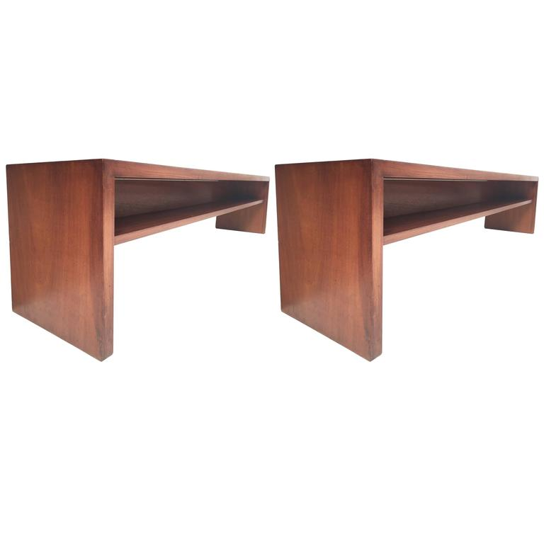 Unique Pair Solid Mahogany Church Benches by Dutch Architect Harry Nefkens, 1963