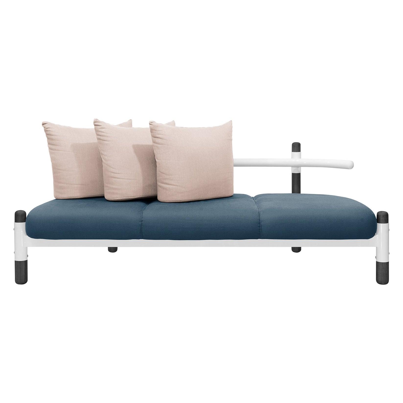 Blue PK15 Three-Seat Sofa, Steel Structure & Ebonized Wood Legs by Paulo Kobylka