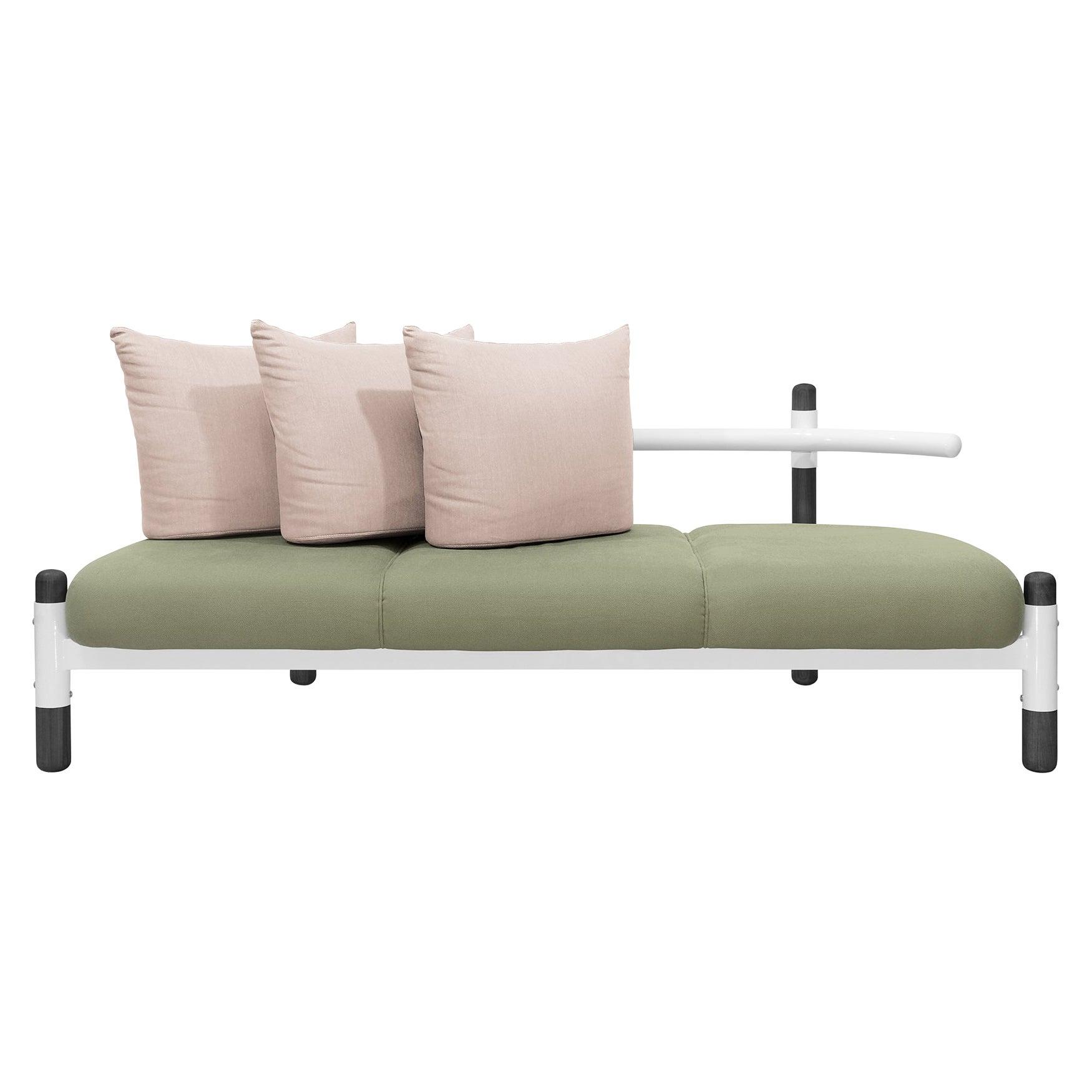 Green PK15 Three-Seat Sofa, Steel Structure and Ebonized Legs by Paulo Kobylka