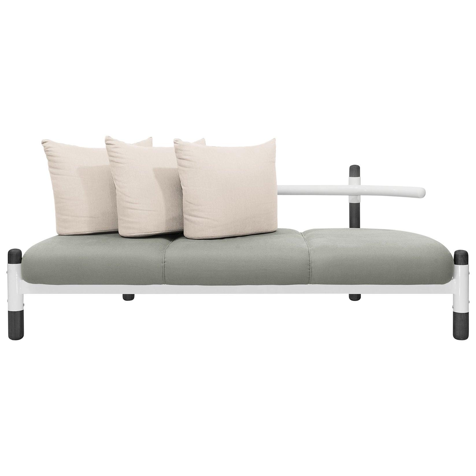 Grey PK15 Three-Seat Sofa, Steel Structure & Ebonized Wood Legs by Paulo Kobylka