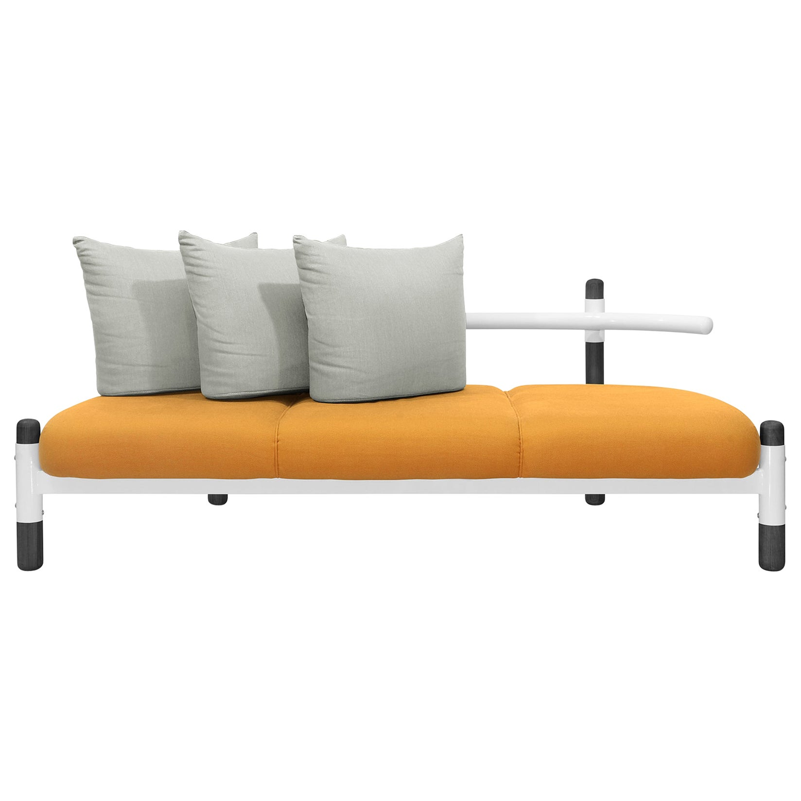 Orange PK15 Three-Seat Sofa, Steel Structure and Ebonized Legs by Paulo Kobylka