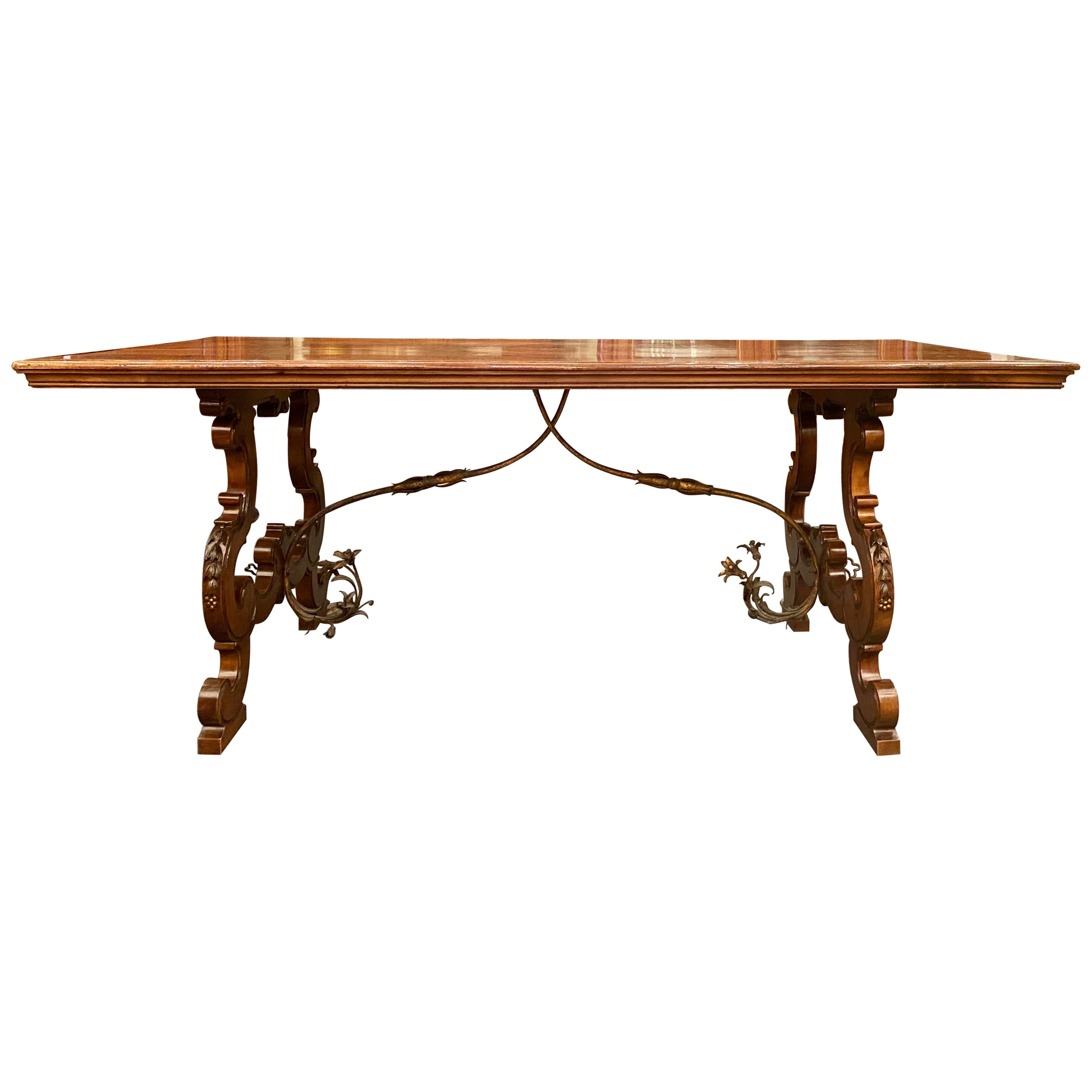 Antique French Walnut Trestle Dining Table with Iron Work Detail circa 1860-1880