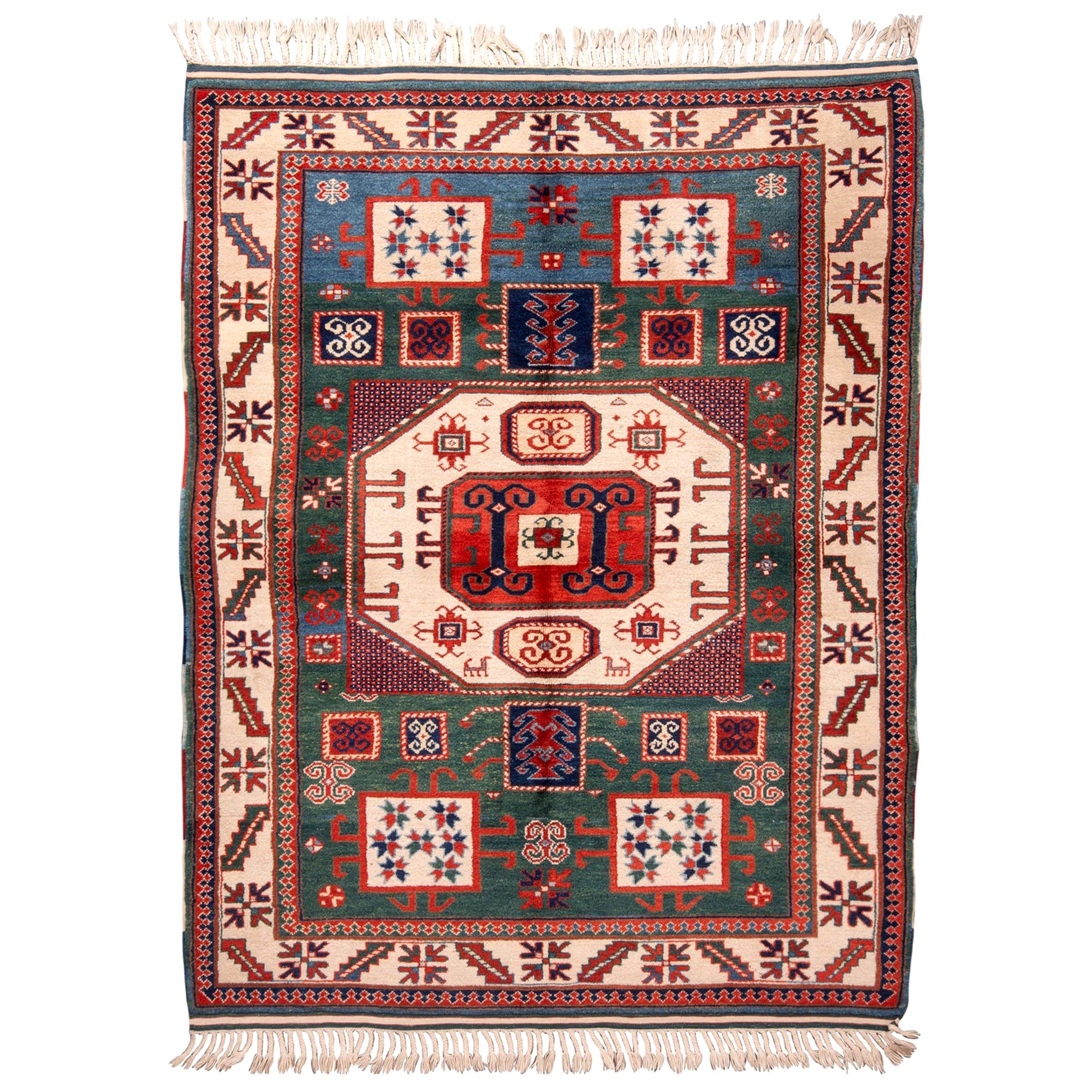 Rug & Kilim's New Kazak Transitional Red and Green Wool Rug with Horn Motifs