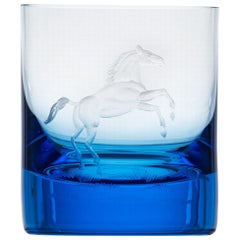 Whisky Crystal Tumbler with Engraved Horse #1 Aquamarine, 12.51 oz