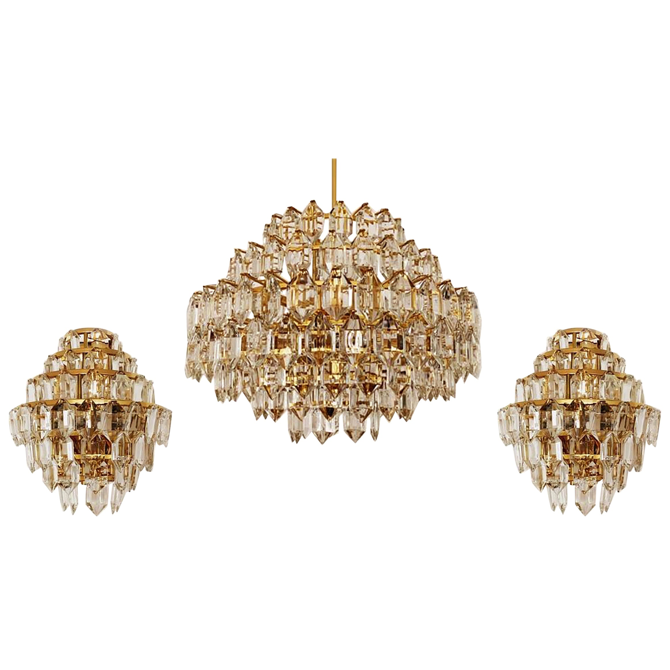 Set of Bakalowits & Sohne Chandeliers, Brass and Crystal Glass, Austria, 1960s