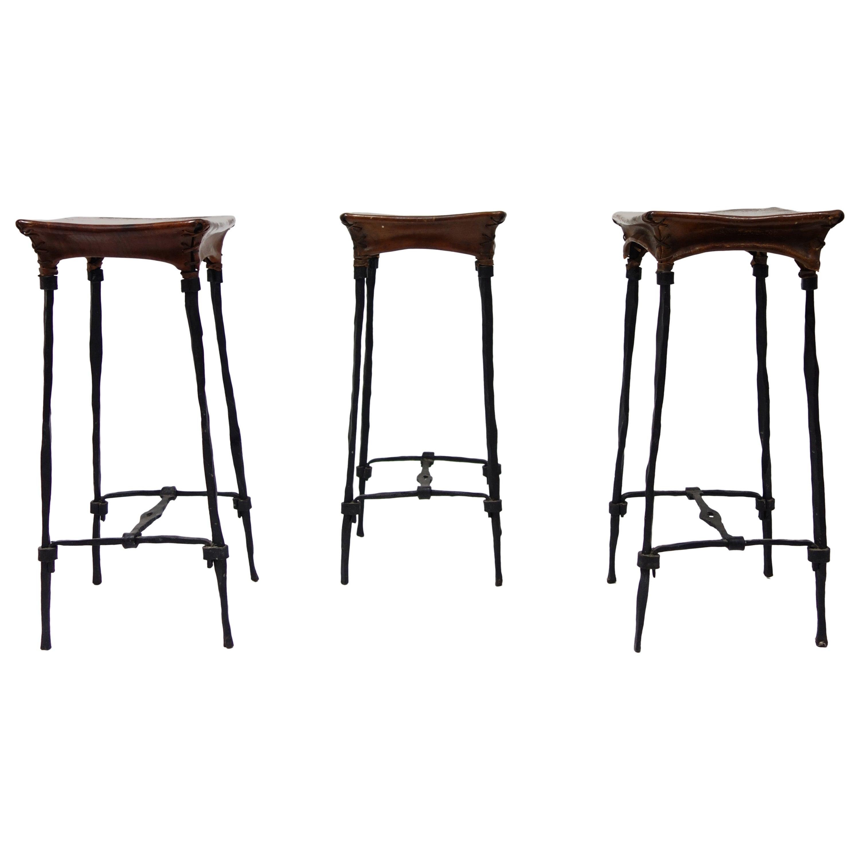 Set of 3 Bar Stool by François & Sido Thevenin