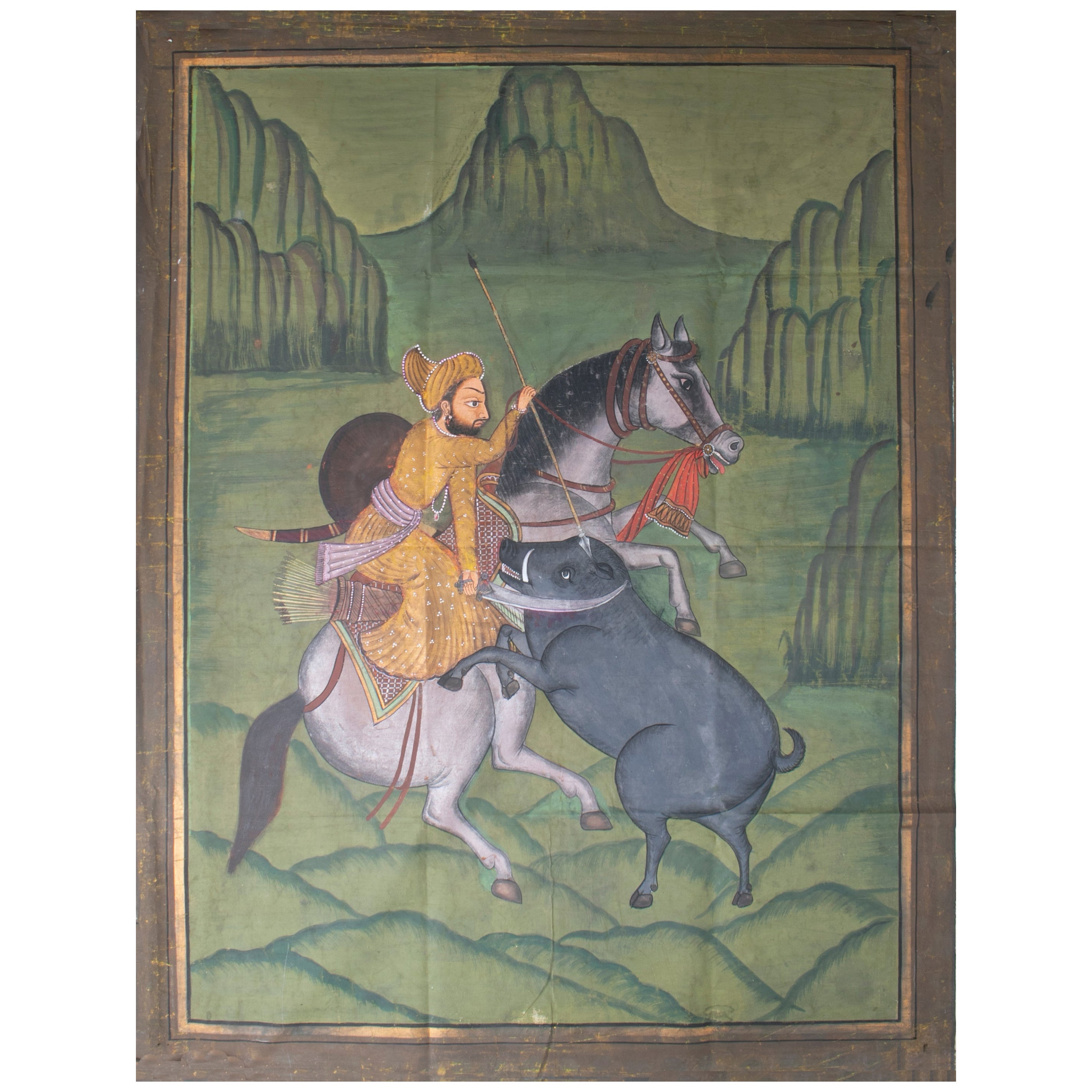 """1970s Jaime Parlade Designer Hand Painting """"Hunting on Horse"""" Oil on Canvas"""