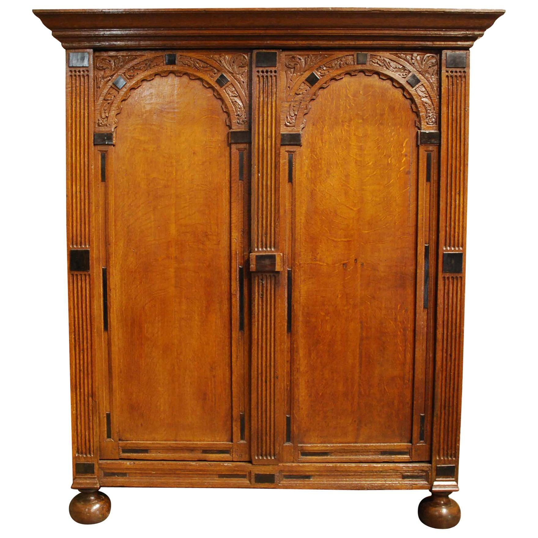 Antique 17th Century Oak and Ebony Two-Door Renaissance Cabinet