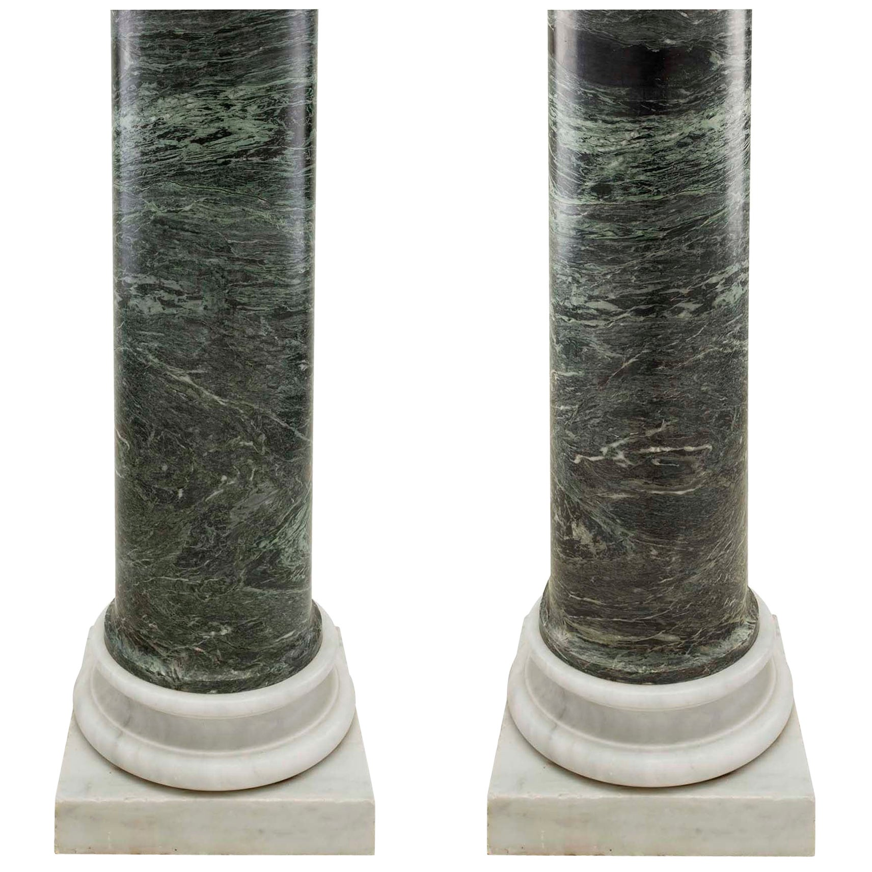 Italian 19th Century Neoclassical Style Green Marble Columns