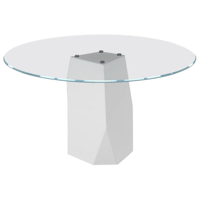 Menhir, Dining Table with Round Clear Glass Top on Metal Base, Made in Italy