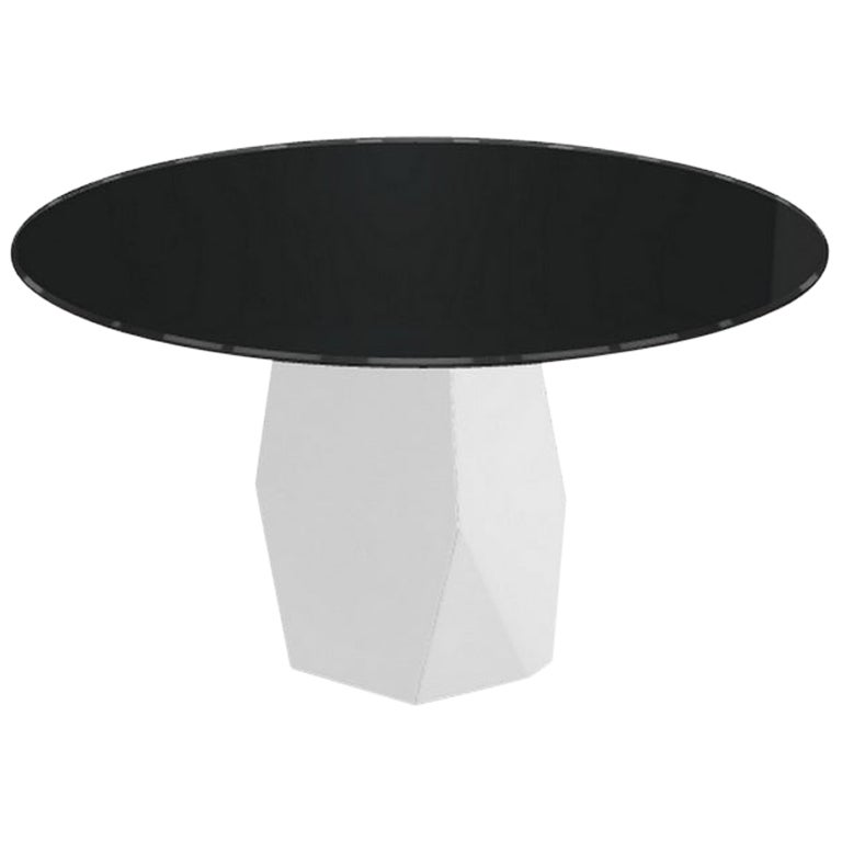 Menhir, Dining Table with Round Black Glass Top on Metal Base, Made in Italy