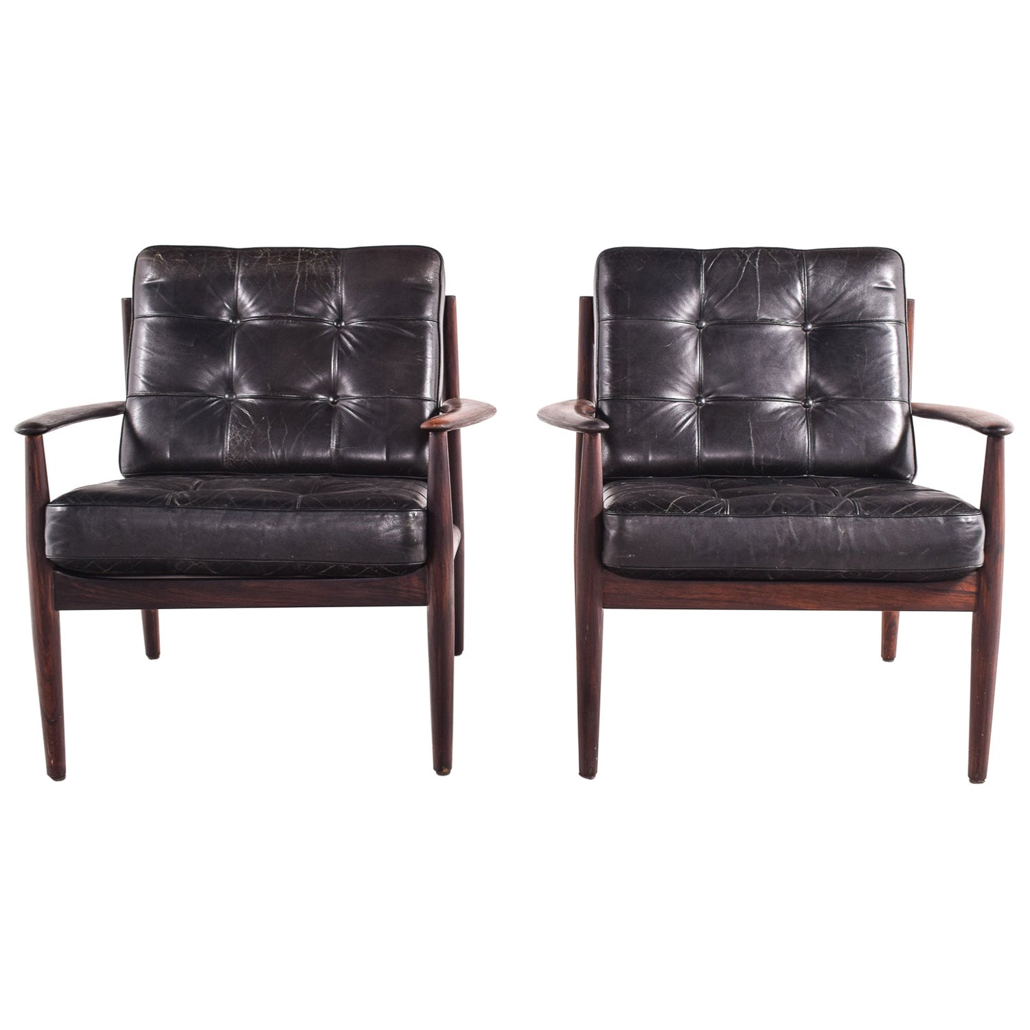 Pair of Rosewood Armchairs by Grete Jalk, Model 118 for France & Son, 1960s