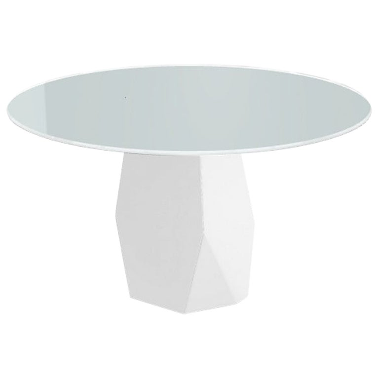 Menhir, Dining Table with Round White Glass Top on Metal Base, Made in Italy
