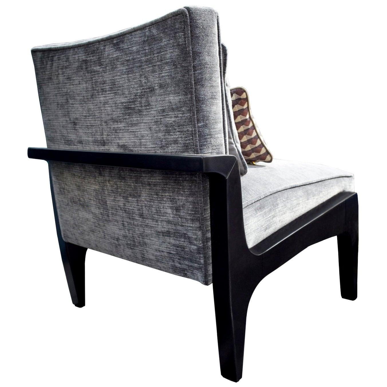 Art Deco Inspired Atena Chair Black Ebony and Grey Ribbed Velvet