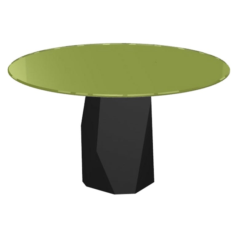 Menhir, Dining Table with Round Green Glass Top on Metal Base, Made in Italy
