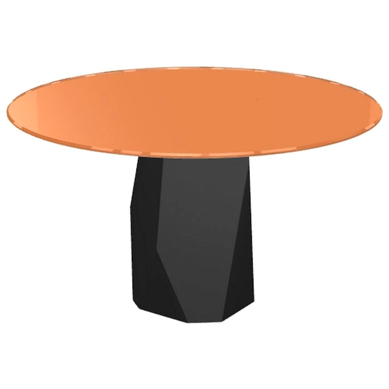 Menhir, Dining Table with Round Orange Glass Top on Metal Base, Made in Italy
